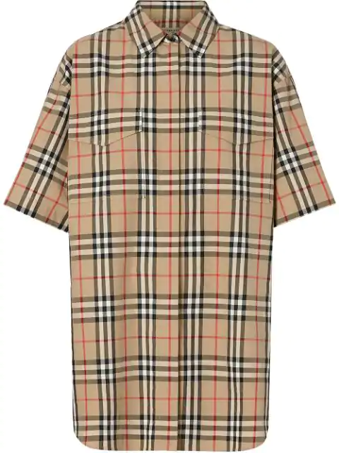 Burberry Short-Sleeve Vintage Check Cotton Oversized Shirt In Neutrals