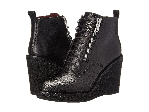 Marc By Marc Jacobs Kit Lace Up Crepe Wedge Booties In Black