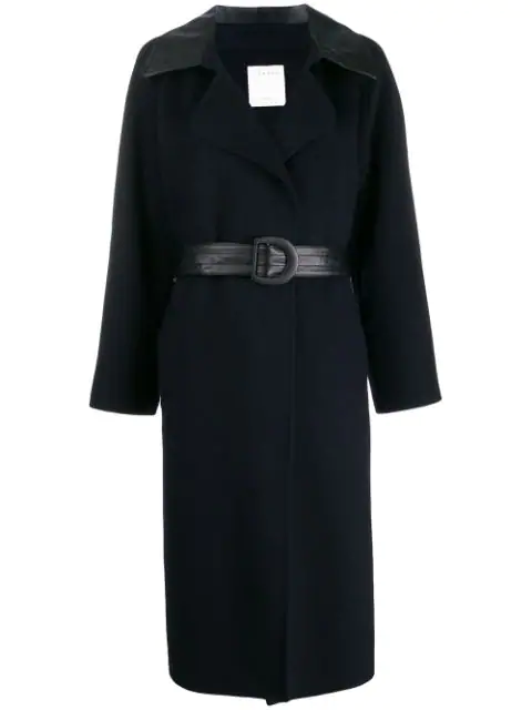 Sandro Contrast Panel Belted Trenchcoat In Blue