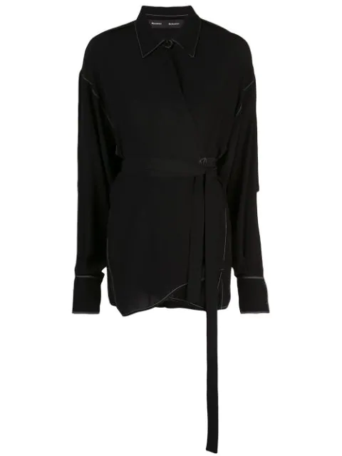 Proenza Schouler Exaggerated Epaulet Long Sleeve Wrapped Top In Black