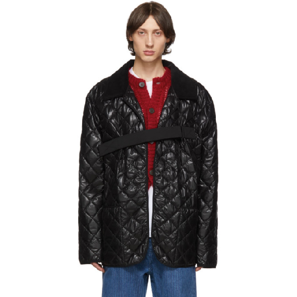Maison Margiela Oversized Corduroy-Trimmed Quilted Nylon Jacket In 900 Black