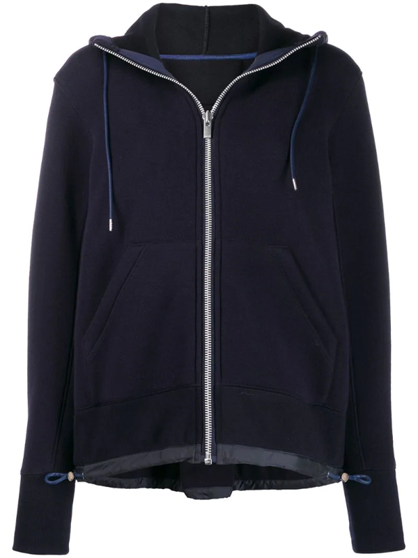 Sacai Long Sleeve Hooded Top In Blue