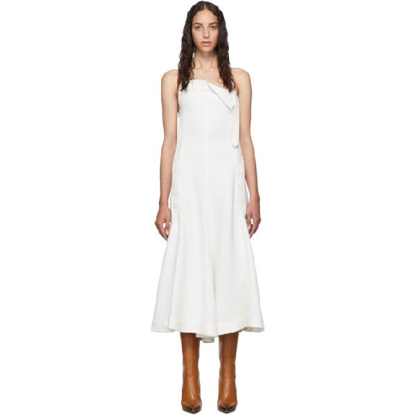 Jacquemus Tablier Open-back Textured-crepe Halterneck Dress In White