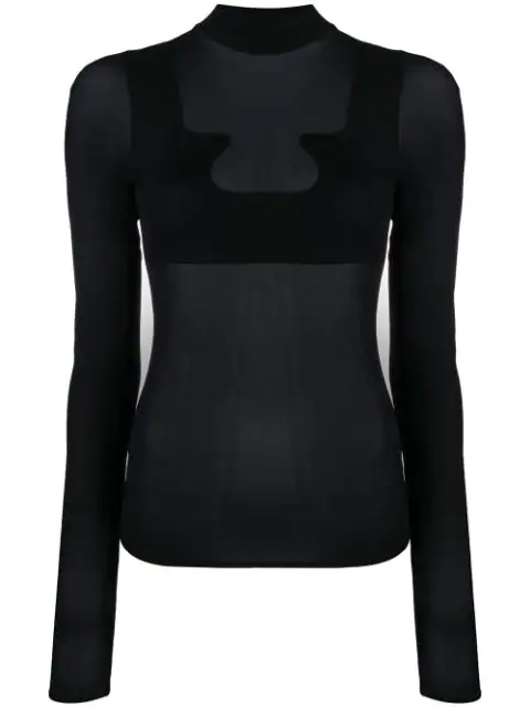 CourrÈGes Gerbe Stretch-Jersey Turtleneck Top In Black