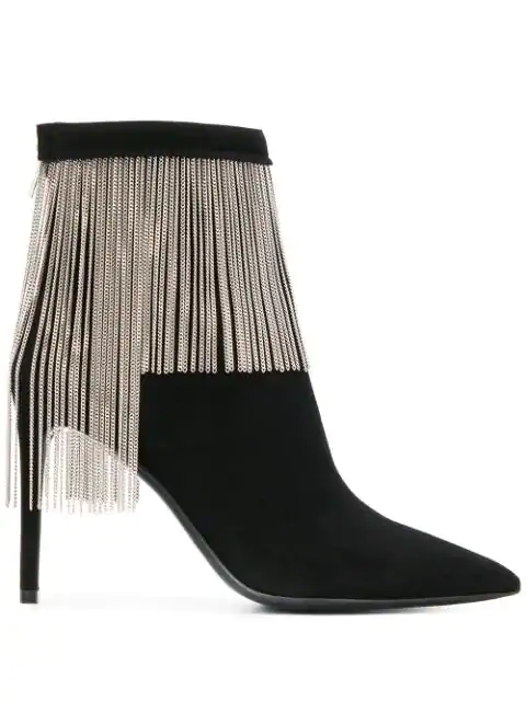 Balmain Mercy Chain-Embellished Suede Ankle Boots In Black