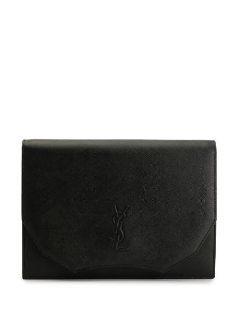 Saint Laurent Embossed Monogram Clutch In Black