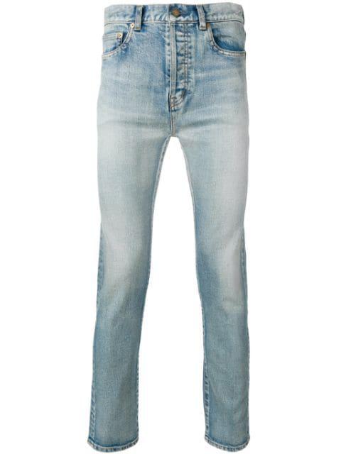 Saint Laurent Distressed Straight-leg Jeans In Blue