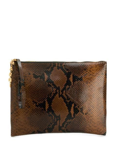Marni Python Print Clutch Bag In Brown