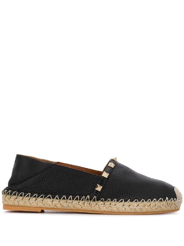 Valentino Rockstud Leather Slide Espadrilles In Black