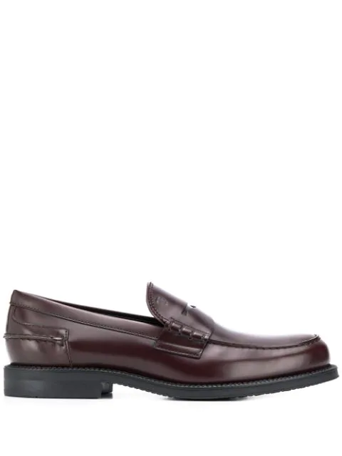 Tod's Classic Leather Loafers In Brown