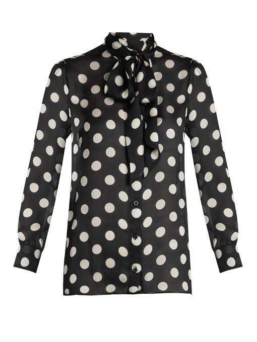 bd5990dd24cd8 Gucci Pussy-Bow Polka-Dot Silk-Chiffon Blouse In Black Multi