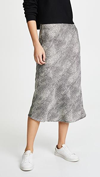 Re:named Re: Named Animal Print Midi Skirt In White/black