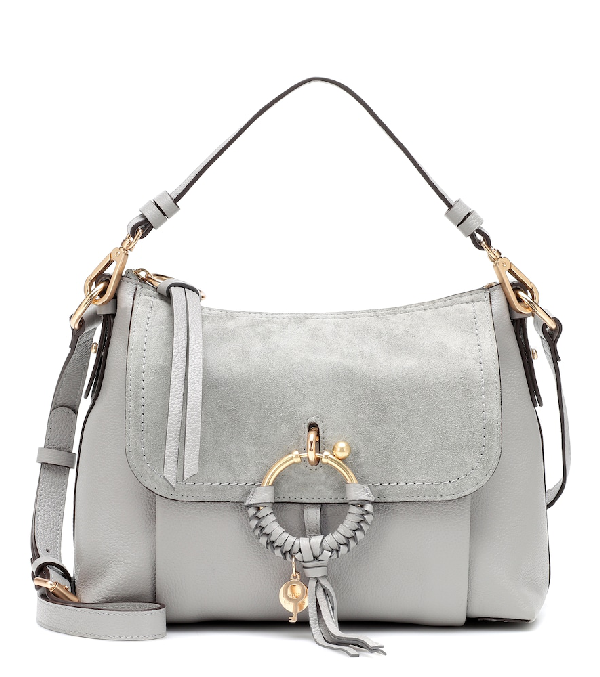 See By ChloÉ See By Chloe Joan Small Leather & Suede Shoulder Bag In Grey