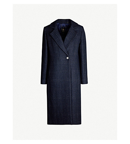 Ted Baker Checked Single-Breasted Woven Coat In Navy