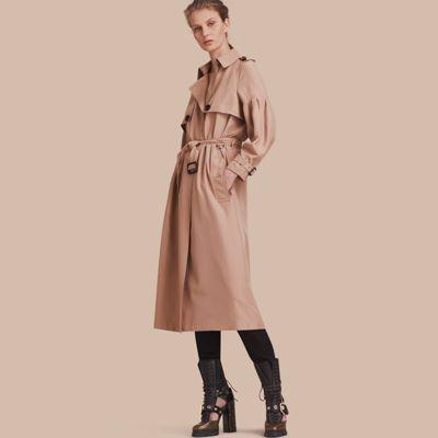 7c9f9ae474d Burberry Oversize Silk Trench Coat With Puff Sleeves In Nude | ModeSens