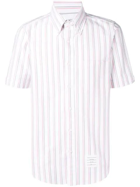 Thom Browne Center-back Rwb Tricolor Oxford Shirt In White