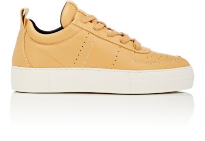 Helmut Lang Leather Platform Low-Top Sneakers In Tan,Yellow