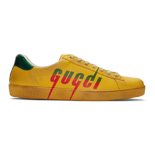 Gucci Men's New Ace Low-Top Logo Sneakers In Yellow