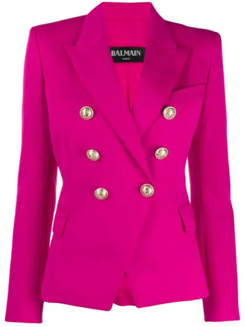 Balmain Double Breasted Grain De Poudre Blazer In Pink