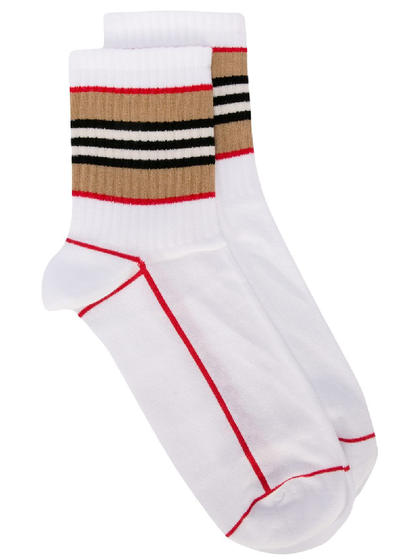 Burberry Icon Stripe Intarsia Cotton Blend Ankle Socks In White