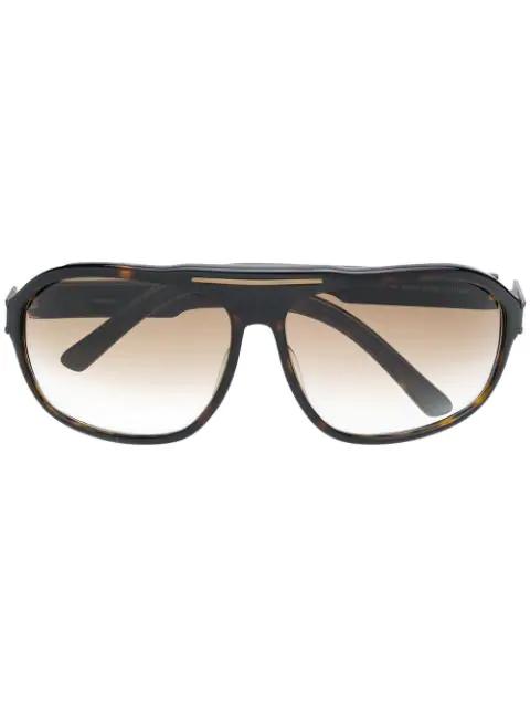 Saint Laurent 1970's Gradient Sunglasses In Brown