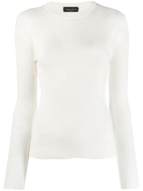 Roberto Collina Ribbed Knit Sweater In Neutrals