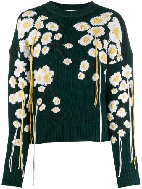 Enföld Winter Sakura Knit Sweater In Green