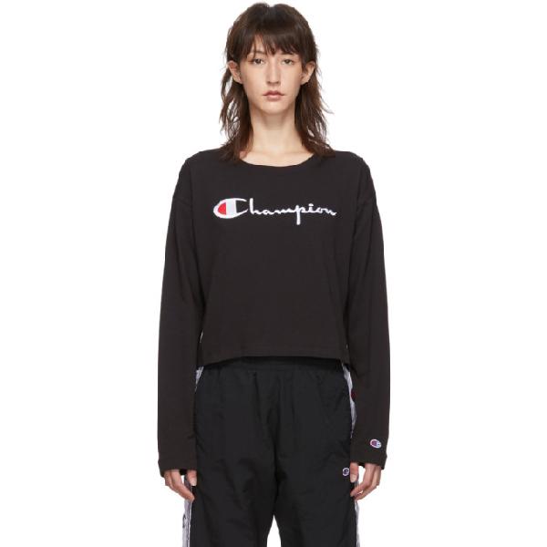 Champion Big Script Long Sleeve Cropped T-shirt In Kk001 Black