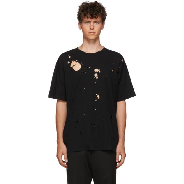 Ann Demeulemeester Black Oversized Holes T-Shirt