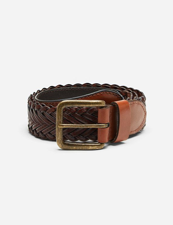 Dents Plaited Leather Belt - Tan Leather In Brown