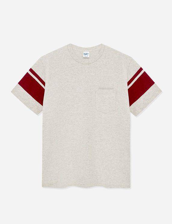 Velva Sheen College Arm Stripe Usa Made T-shirt - Oatmeal/burgundy In White