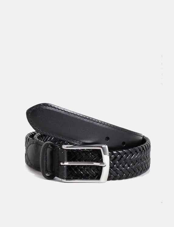 Dents Plaited Leather Belt - Black