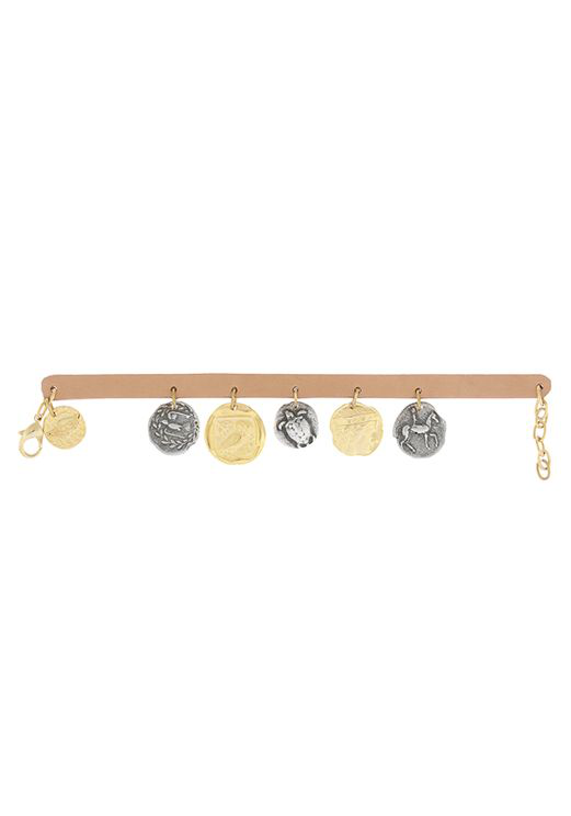 Ancient Greek Sandals Leather & Coins Chain In Gold