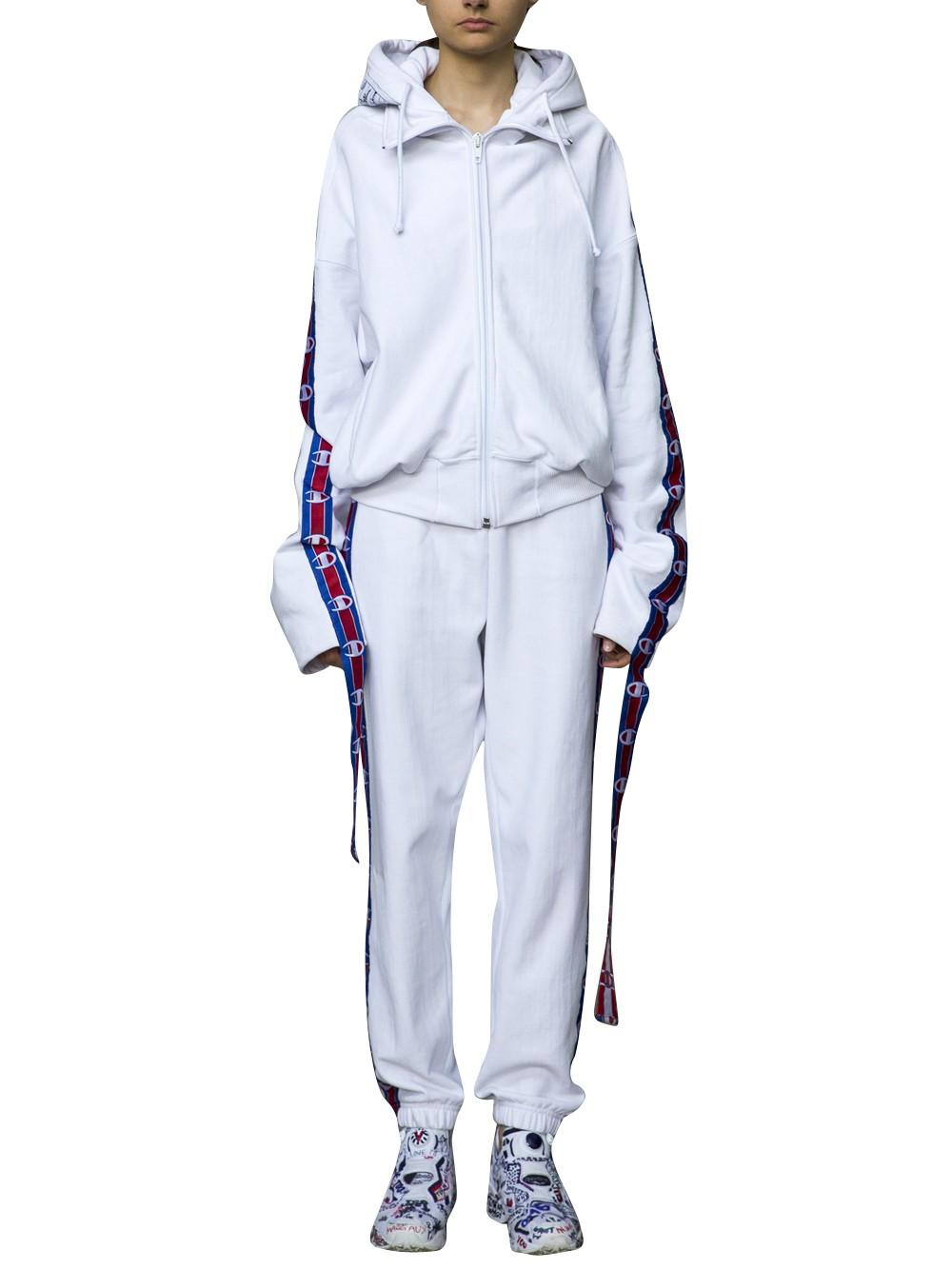a9edf46cf310e9 Vetements Cotton-Blend Logo-Striped Zip-Front Hoodie In White | ModeSens
