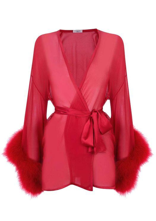 Gilda & Pearl Diana Marabou Kimono In Red