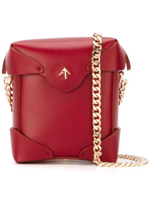 Manu Atelier Mini Pristine Leather Shoulder Bag In Red