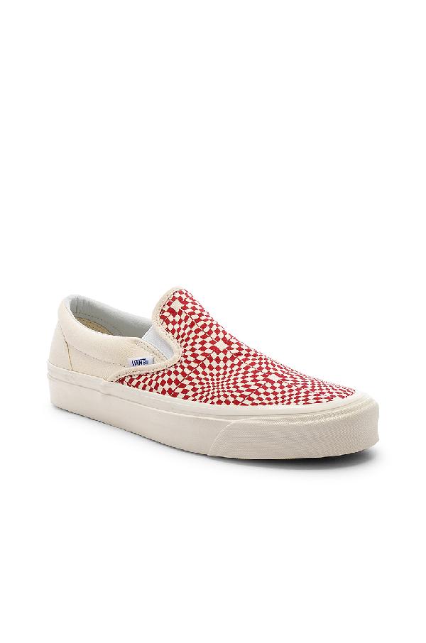 Vans Classic Slip-On 98 Dx (Canvas) - Anaheim Factory Og Red/White/Warp Check In Og Red & White & Warp Check