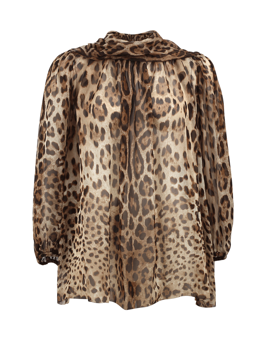 dd3e195b Dolce & Gabbana Leopard-Print Tie-Neck Silk-Chiffon Top In Tan,Brown ...