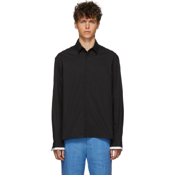 Haider Ackermann Black Classic Contrast Shirt In 099 Black