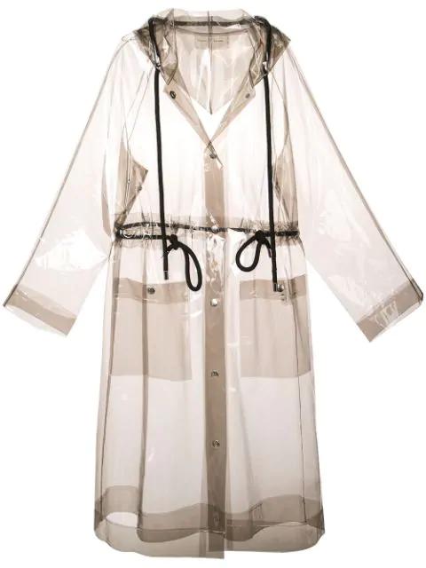 Proenza Schouler Pswl Transparent Mid-length Raincoat In Grey