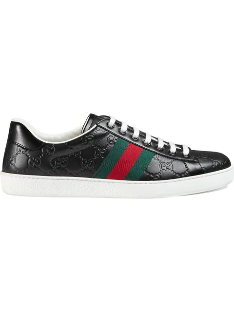 Gucci Men's Shoes Leather Trainers Sneakers Signature In Black