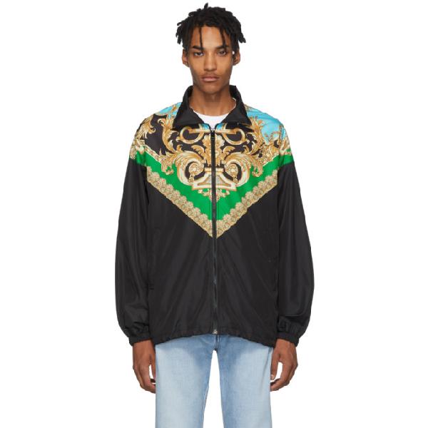 Versace Heritage Print Nylon Track Jacket In A78y Verazu