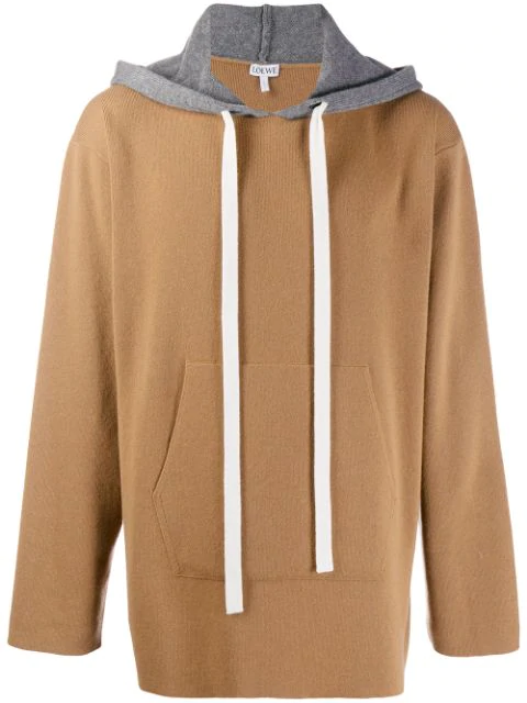 Loewe Men's Oversized Cashmere Knit Pullover Hoodie In Neutrals