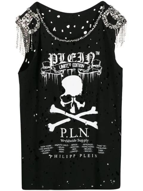 Philipp Plein Skull Print Tank Top In Black