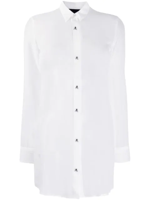 Philipp Plein Sheer Blouse In White
