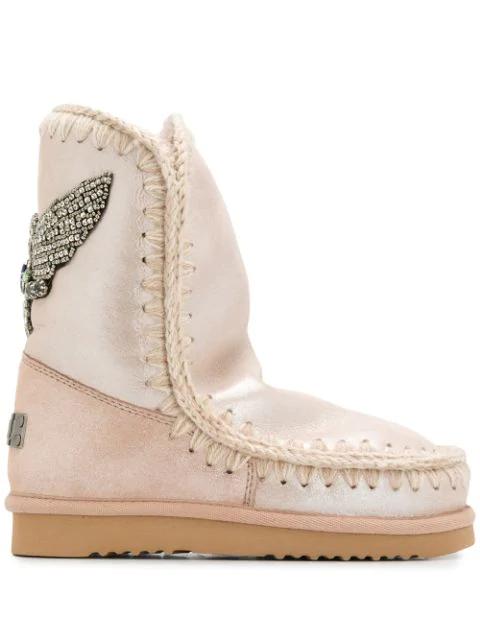 Mou Eskimo Metallic Boots In Pink