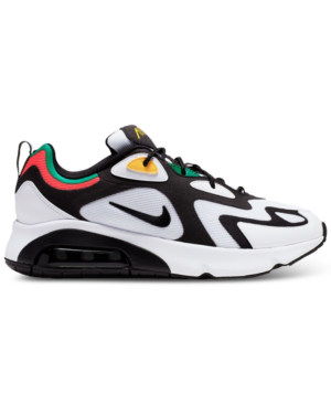 Nike Men's Air Max 200 Running Sneakers From Finish Line In White/Black-Bright Crimso