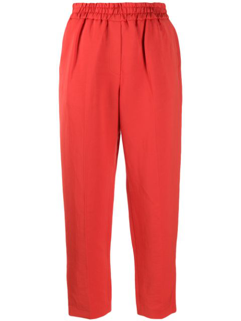 Frenken Cropped Tapered Trousers In Red