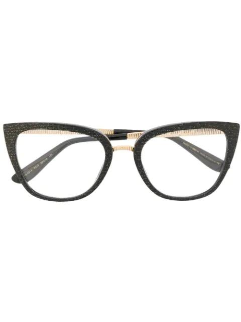 Dolce & Gabbana Cat-eye Shaped Glasses In Black