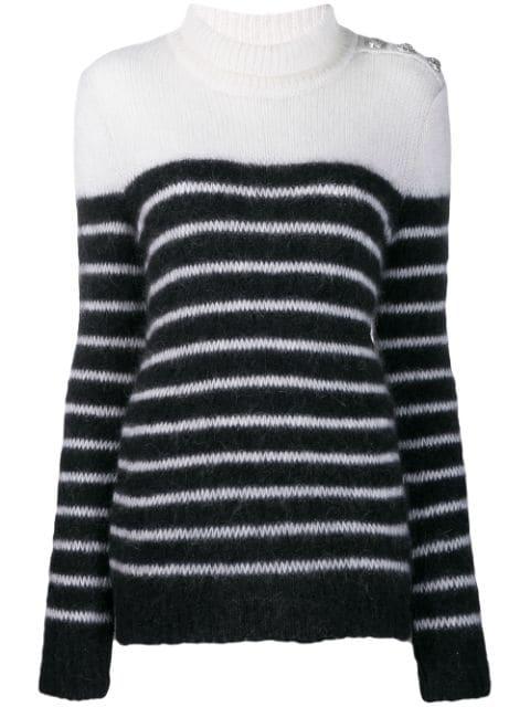 Balmain Striped Knitted Jumper In Black